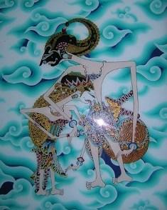 Lukisan Kaca Latar Batikan